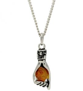 Unique Helping Hand Shaped Amber Stone Pendant / Necklace